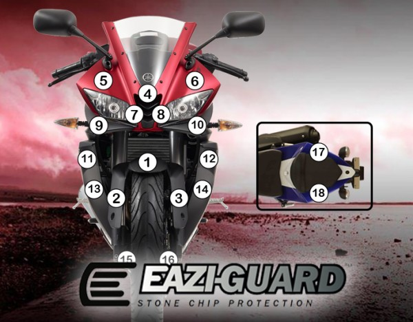 Eazi-Guard Background with Yamaha YZF-R125 2014-2017 for Listing